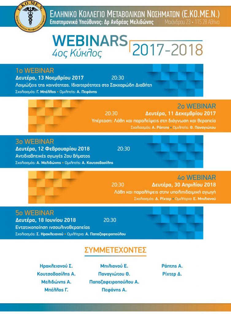 4ος Κύκλος Webinars 2017 – 2018 Ελληνικό Κολλέγιο Μεταβολικών Νοσημάτων (Ε.ΚΟ.ΜΕ.Ν) – 11/12/2017